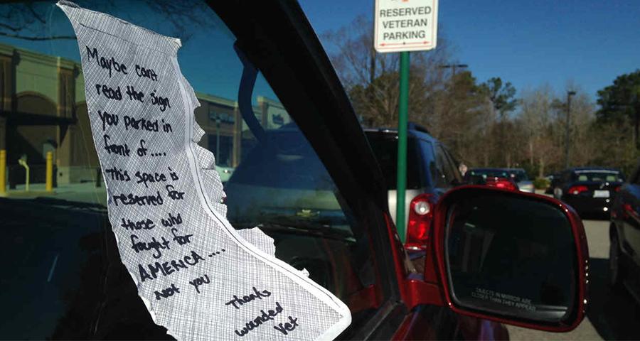 note left on vehicle