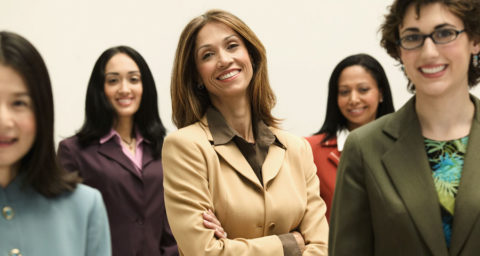 group of smiling business women