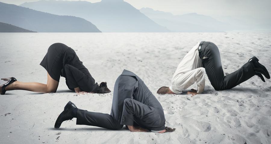 business men and women with their heads in the sand