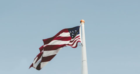 American flag on flag pole